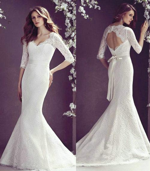 Wedding Gowns For Hourglass Figures: Lace Long Sleeve Mermaid Wedding Dresses 2013 Satin V Neck