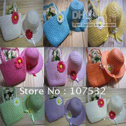 Wholesale Children Straw Hat Bag - 18pcs lot 2014 New Style Children Straw Hat And Bag Suit in stock