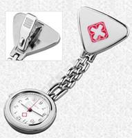 Wholesale Clock Nurse - Stainless Steel Nurse watch working watch nurse colorfull triangle nurse doctor Clock cross Pattern Women Lovely wathes