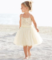 Wholesale dress length year old resale online - Cheapest New Arrival Years Old A Line Spaghetti Knee Length Tulle Ivory Flower Girl Dress Children Bridesmaid Dresses In Stock Q6167