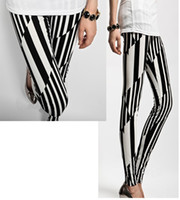 Wholesale Thin Striped Leggings - Women'S Leggings Irregular Black White Vertical Stripes Tights Pants Slim Thin Trousers Autumn New Clothing