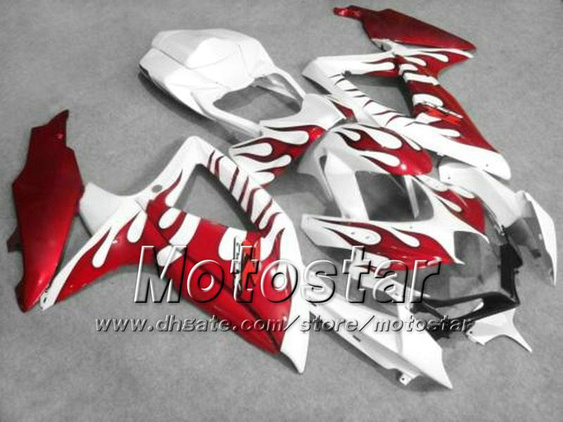 Motorfietsverbarstingen voor Suzuki 2008 2009 2010 GSX-R600 GSX-R750 08 09 10 GSXR 600 GSXR750 K8 Rode Vlam Wit Veelkast