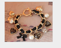 Wholesale Diamond Bow Bracelets - vintage retro Cute bow leopard peach heart full of diamond pearl bracelet hand ring bracelet 12pcs lot