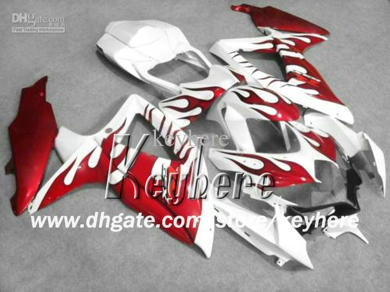 Livre 7 presentes kits de carenagem de corrida para SUZUKI GSXR750 08 09 10 GSXR 750 2008 2009 2010 K8 GSX R750 carenagem G8i novas peças de moto de chamas vermelhas