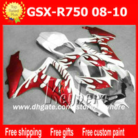 Wholesale Suzuki Motorcycle Racing Parts - Free 7 gifts race fairing kits for SUZUKI GSXR750 08 09 10 GSXR 750 2008 2009 2010 K8 GSX R750 fairings G8i new red flames motorcycle parts