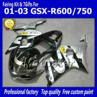 ingrosso k1 gsxr scollature in argento nere-Carenature moto per SUZUKI GSXR 600 750 K1 2001 2002 2003 GSXR600 GSXR750 01 02 03 R600 R750 carenatura abs argento nero ff68