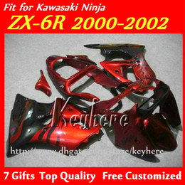 $enCountryForm.capitalKeyWord Canada - Free 7 gifts ABS fairing kit for KAWASAKI ZX6R 00 01 02 Ninja ZX 6R 2000 2001 2002 ZX-6R fairings G4f popular red black motorcycle body work