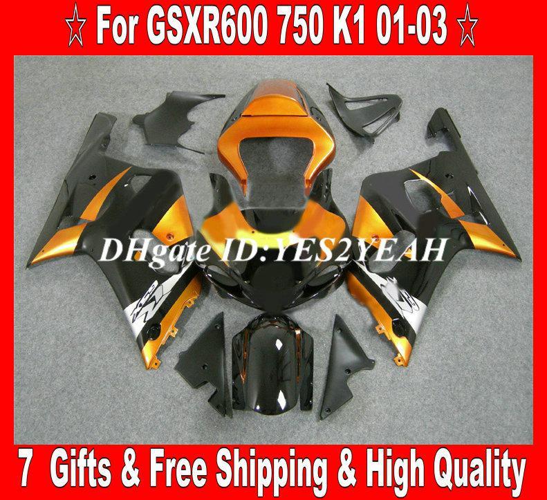 Kit carenatura SUZUKI GSXR600 750 2001 2002 2003 GSXR600 GSXR750 K1 01 02 03 Carrozzeria GSXR 600 Golden black Fairings set + regali SM32