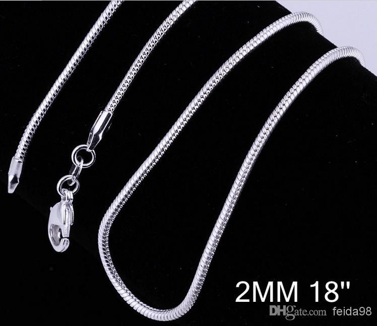 Granel 925 moda de prata colar de corrente de cobra veneziana venda quente 2 MM 20 polegada 20 pçs / lote