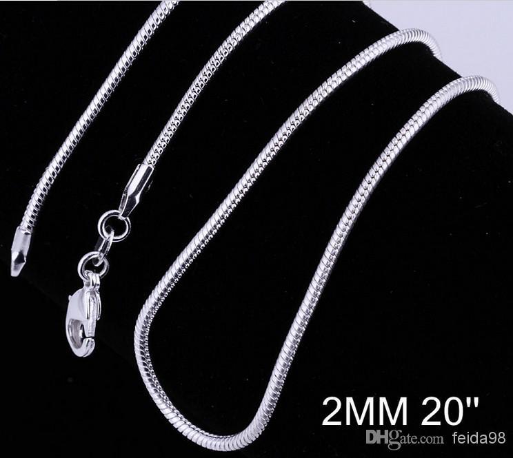 Großhandels 925 silberne Art und Weise venetianische Schlangekettenhalskette heißer Verkauf 2MM 20 Zoll /