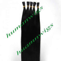 "Wholesale Stick I Tip Wholesale - 20"" 100g Thickly Stick Tip Indian Human Hair Extensions, I-tip Hair Extensions, Natural Black #1B, 1g pcs 100pcs lot Free Shipping"