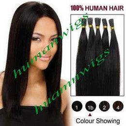 """Wholesale Stick I Tip Wholesale - 18"""" 20"""" High Quality Stick Tip Hair Extensions,I-Tip Indian Human Hair Extension Natural Black #1B, 0.5g pcs 100pcs lot Free Shipping"""