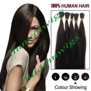 """20"""" 100g Thickly Remy Stick Tip Indian Human Hair Extensions, I-tip Hair Extensions, Jet Black #1, 1g/pcs"""