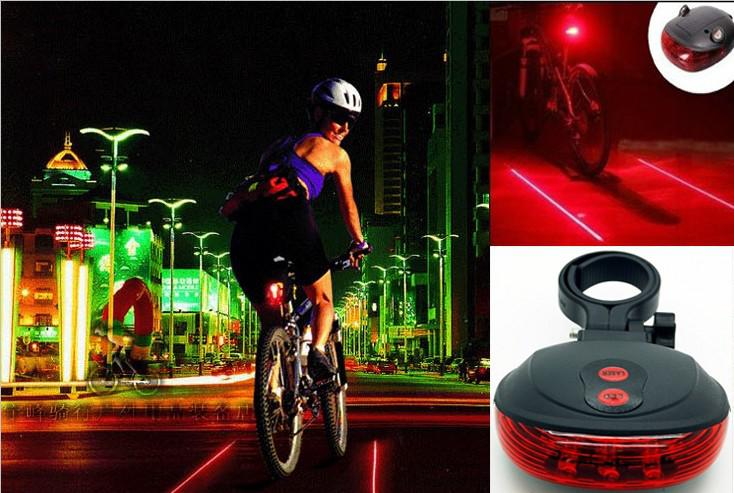 Cycling Laser Light Bike Safety Alarm Lamp (5LED+2Laser) Bicycle Rear Tail Laser Light