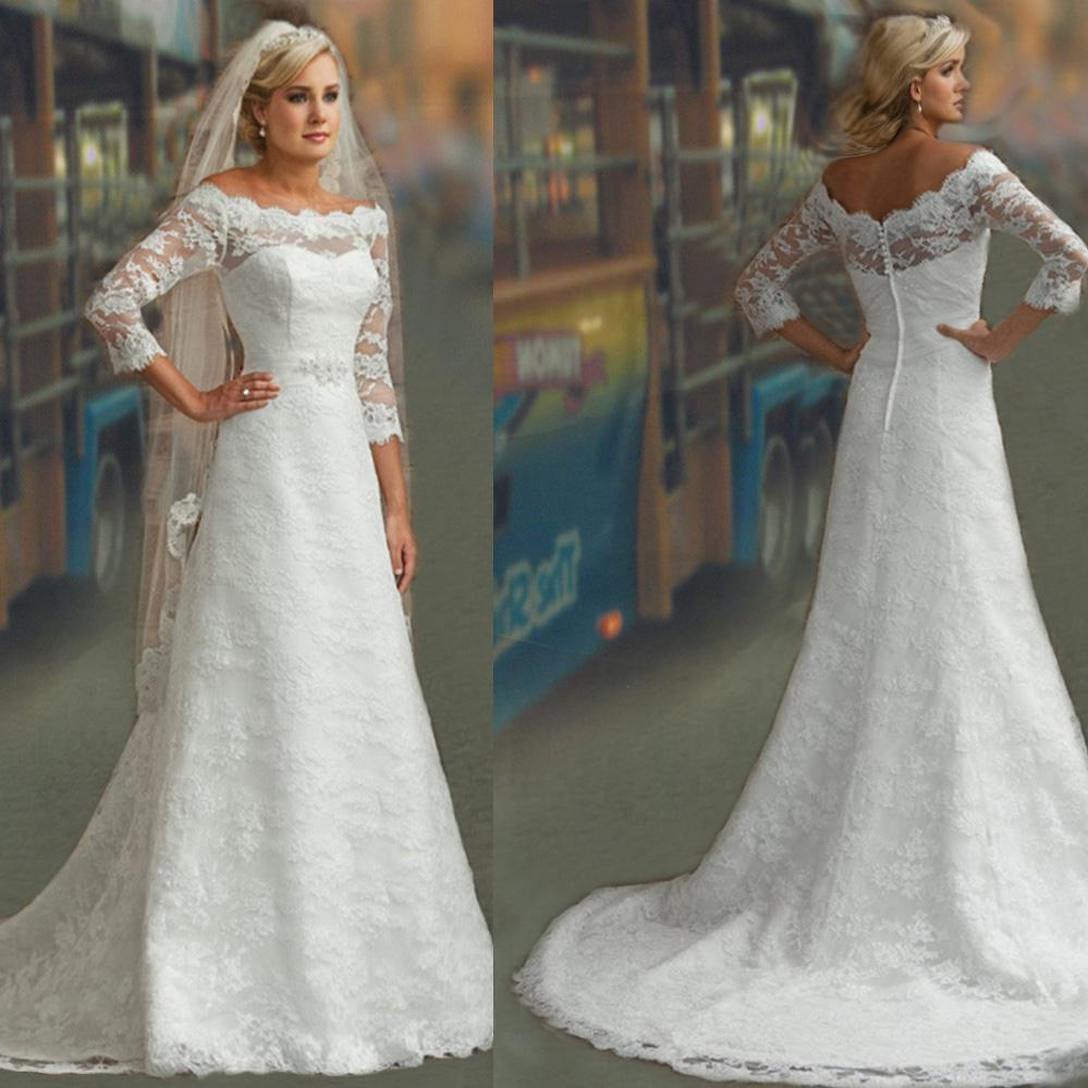 Discount modest 3 4 long sleeves white lace a line bridal for Modest a line wedding dresses
