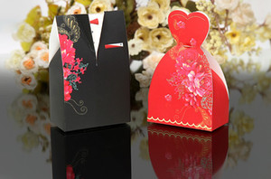Wholesale freeshipping Wedding favor boxes gift Black and red formal dress candy box Flower Bridal Gown Dress Groom s Tuxedo