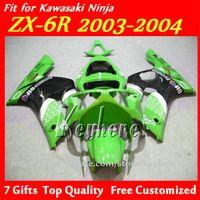 ingrosso plastica kawasaki ninja zx6r-7 regali carenatura plastica ABS per Kawasaki Ninja ZX-6R 2003 2004 ZX6R ZX 6R 03 04 carrozzeria carrozzeria g1f verde nero aftermaket