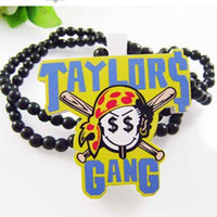 Wholesale Good Wood Gang - Taylor Gang Pendant Good Wood Hip-Hop Wooden Fashion Dancer Necklace