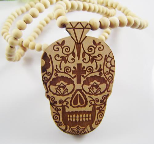 Schädel Anhänger Gute Holz Hip-Hop Casual NYC Männer Punk Rock Halskette Natürliche Farbe Großhandel