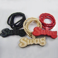 SWAG Letter Good Wood Hip Hop Jewelry 3 couleurs Fashion Necklace Wholesale