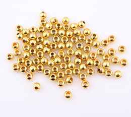 Wholesale Halloween Chunky Beads - 6mm Gold Plated Color Round Ball Metal Spacer Beads For Chunky Jewelry Making Findings 500pcs lot Free Shipping ZBE36