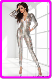 Wholesale Sexy Catsuit Overall - Hot Sexy Lingerie Gothic Silver Fashion 3D Intricately crafted Overall Catsuit Costume 7117