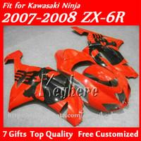 Wholesale Custom Kawasaki Motorcycle Parts - Free 7 gifts Custom ABS fairings kit for KAWASAKI ZX-6R 07 08 Ninja ZX 6R 2007 2008 ZX6R fairings g4f high grade red black motorcycle parts