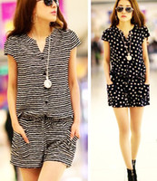 Wholesale Cat Woman Jumpsuit - M L XL Women Girls Short Jumpsuits Romper Black Short Sleeve Cotton Striped Cats Heads Summer