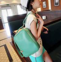 Wholesale Candy Bag Female - 2015 fashion women girl lady retro punk candy color pu leather shoulder bag backpack schoolbag female bag free shipping designer bags #8252