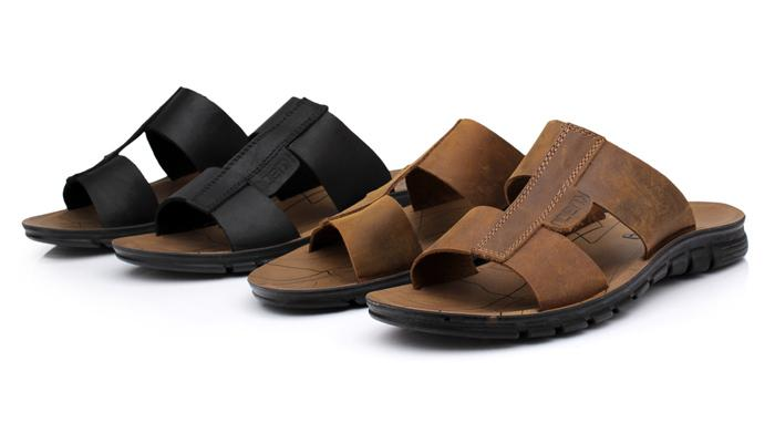 Free shipping summer leisure shoes slip-resistant Men beach slipper flat male sandals 766 Leather Upper