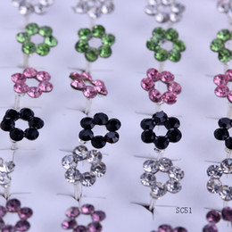 Wholesale Earring Nails - New Fashion Crystal Flower Multi-Colors Genuine 925 Sterling Silver Ear Studs Earrings Ear Nail Jewelry Fit For Womens Girls SC51