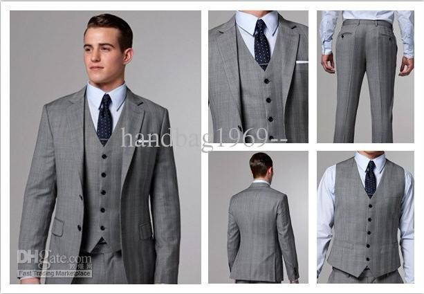 Classic Design Light Grey Notch Lapel Groom Tuxedos Best Man Suits