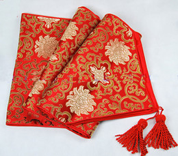 Wholesale Dark Red Table Runners Wedding - Lengthen 120 inch High End Luxury Decoration Table Runners For Wedding Damask Printed End Table cloth Multicolor option