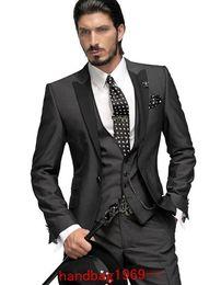 Wholesale charcoal grey wool suit - Slim fit One Button Charcoal Grey Groom Tuxedos Best Man Peak Black Lapel Groomsmen Men Wedding Suits Bridegroom (Jacket+Pants+Tie+Vest) F2