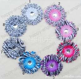 Wholesale Hair Stone Flower Clips - free shipping 4''Zebra & leopard & spottede Gerbera Daisy Flower with shine stone Hair Clip Headwear corsage 8 colors 50pcs