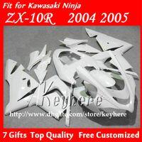Wholesale Motorcycle Race Bodywork - Free 7 gifts race fairing kit for Kawasak Ninja ZX 10R 2004 2005 ZX10R 04 05 ZX-10R G6e motorcycle fairings hot sale all pure white bodywork