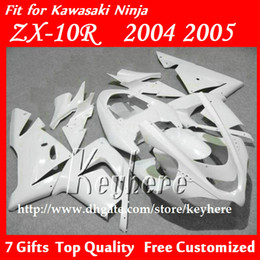 Wholesale Kawasaki Ninja Fairings For Sale - Free 7 gifts race fairing kit for Kawasak Ninja ZX 10R 2004 2005 ZX10R 04 05 ZX-10R G6e motorcycle fairings hot sale all pure white bodywork