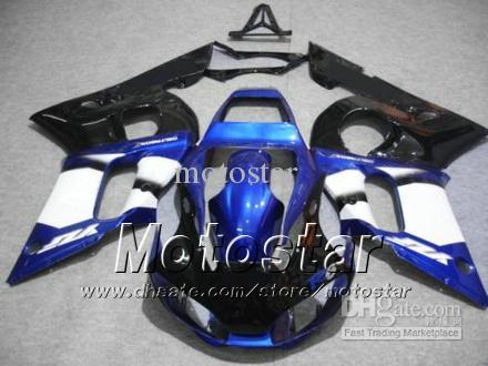 Motorfietsen Kit voor Yamaha YZF-R6 1998 1999 2000 2001 2002 YZFR6 YZF R6 YZF600 Blue Black Backings Set HH