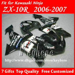 Kit Motorcycles For Sale Canada - Free 7 gifts Custom ABS fairing kit for Kawasak Ninja ZX10R 06 07 ZX-10R ZX10R 2006 2007 G3f fairings hot sale WEST black motorcycle parts