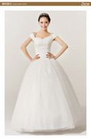 Wholesale Korean Ladies Images - 30% OFF 2013 Newest Wedding Dresses floor-length short sleeve back in lace up design sexy ladies white color wedding dress hot in Korean