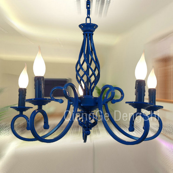 "23"" 5 Lights Mediterranean Chandelier Luxury Painted Blue/Black Iron New Modern Dining Room Parlor Chandelier Bedroom Ceiling Pendant lamp"