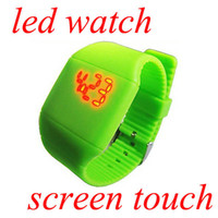 Wholesale Screen Color Squares - Free shipping DHL 100 pcs lot 13 Multi-color 2013 new Colorful Soft Led Touch watch Jelly Candy silicone digital feeling screen watches
