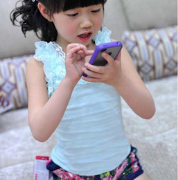 Wholesale Vest Candy Cotton Summer - Children Tank Tops Girls Condole Belt Kids Summer Candy Color Casual Vests Sleeveless T Shirt Fashion Lace Princess Tank Tops Child Clothing