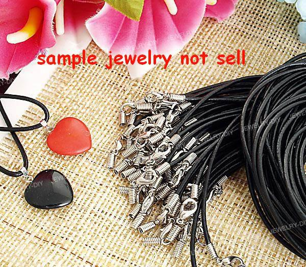 100 unids / lote Collares de goma negra para el cable de las cadenas colgantes Joyas de bricolaje DIY Hallazgos COMPONENTES MIC HOTAL