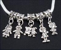 erkek kız takılar toptan satış-Boy \ Kız Charms Big Hole Boncuk 100 adet / grup Tibet Gümüş Dangles Fit Avrupa Bilezikler Takı DIY Alaşım Gevşek Boncuk