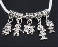 Wholesale European Beads Dangle Charm - 100pcs lot Tibetan Silver Boy\Girl Charms Big Hole Beads Dangles Fit European Bracelets Jewelry DIY Alloy Loose Beads