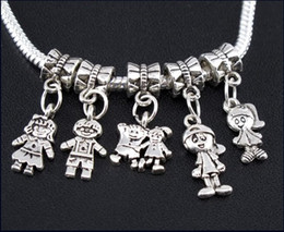 Alloy online shopping - Boy Girl Charms Big Hole Beads Tibetan Silver Dangles Fit European Bracelets Jewelry DIY Alloy Loose Beads