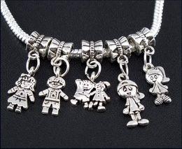 meninos pulseiras de prata Desconto Boy \ Menina Encantos Big Hole Beads 100 pçs / lote Tibetano Prata Dangles Fit Europeus Pulseiras Jóias DIY Liga Contas Soltas