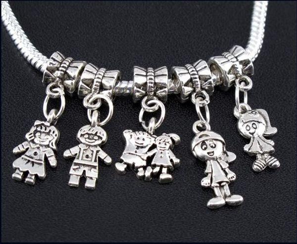 Boy \ Girl Charms Großes Loch Perlen 100 teile / los Tibetanisches Silber baumelt Fit Europäischen Armbänder Schmuck DIY Legierung Lose Perlen