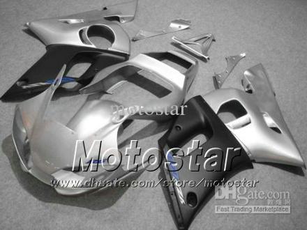 Road racing motorcycle fairing kit for YAMAHA YZF-R6 1998 1999 2000 2001 2002 YZFR6 YZF R6 silver black fairings set hh13